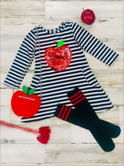 Girls Striped Sequin Apple Applique Dress with Matching Socks & Apple Cross Body Purse - Girls 1st Day of School
