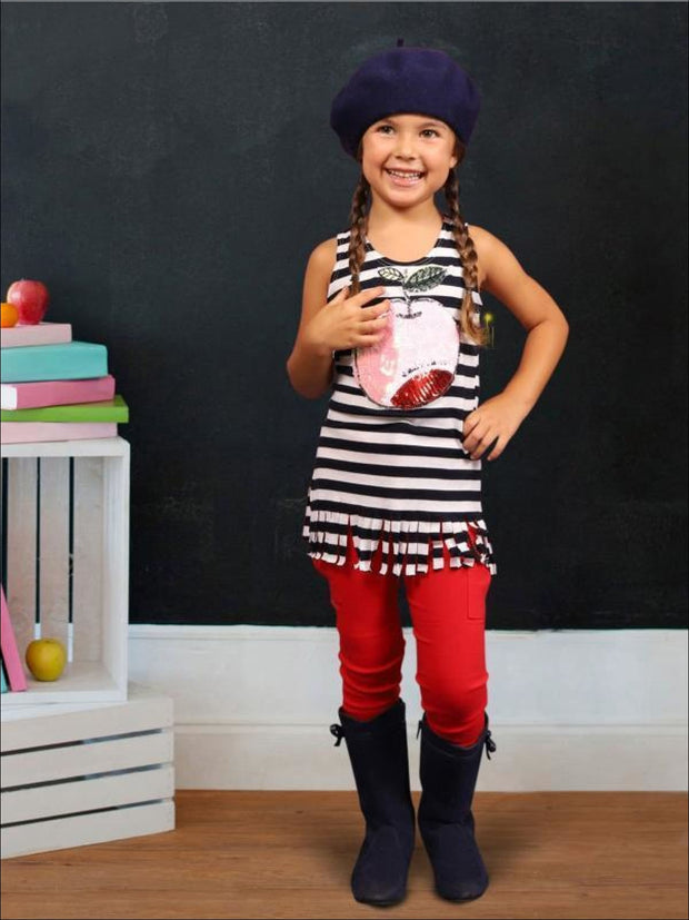 Girls Striped Sequin Applique Fringe Top - Girls Spring Top