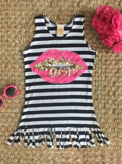 Girls Striped Sequin Applique Fringe Top - Pink / 2T-3T - Girls Spring Top