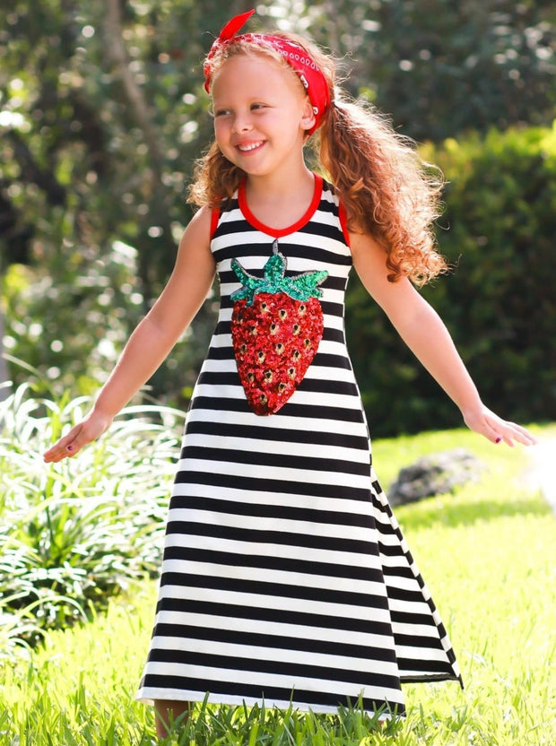 Girls Striped Sequin Applique Side Slit Maxi Dress - Black / 2T/3T - Girls Spring Casual Dress