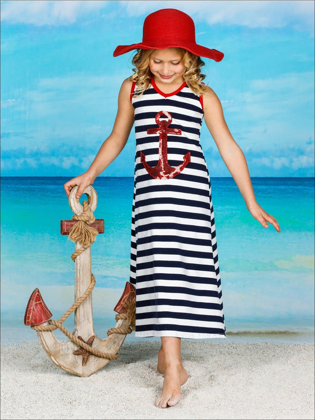 Girls Striped Sequin Applique Side Slit Maxi Dress - Navy / 2T/3T - Girls Spring Casual Dress