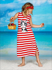 Girls Striped Sequin Applique Side Slit Maxi Dress - Red / 2T/3T - Girls Spring Casual Dress