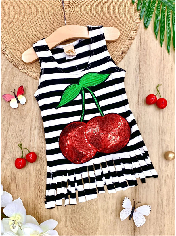Girls Striped Sequin Fruit Applique Fringe Top - Black / 2T/3T - Girls Spring Top
