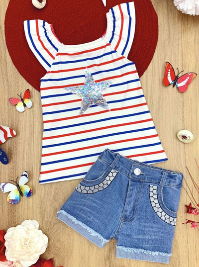 Girls Striped Sequin Star Top and Embroidered Denim Shorts Set - White / 2T - Girls 4th of July Set