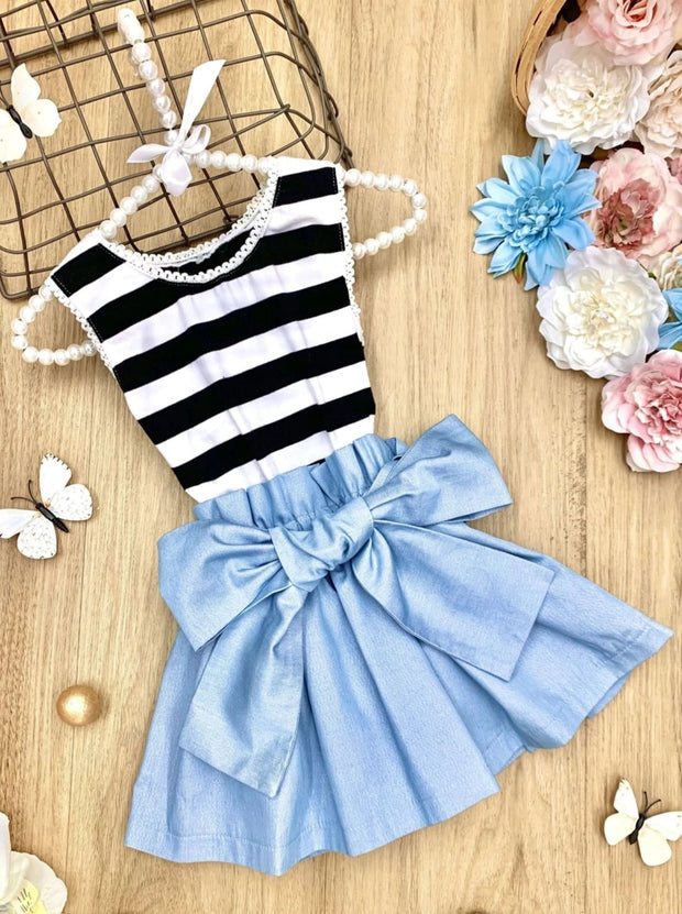 Girls Striped Shimmer Chambray Sash-Waist Paperbag Dress - Black / 2T/3T - Girls Spring Casual Dress