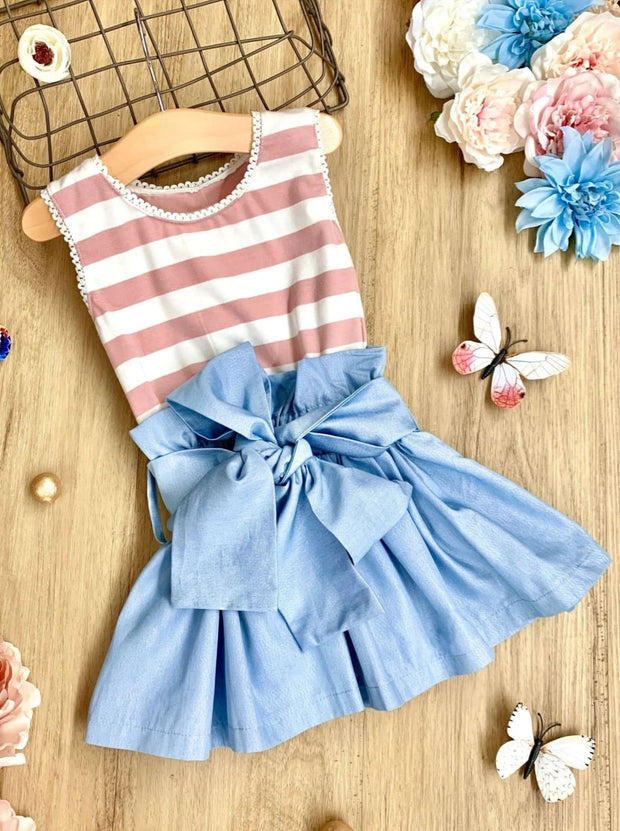 Girls Striped Shimmer Chambray Sash-Waist Paperbag Dress - Dusty Pink / 2T/3T - Girls Spring Casual Dress