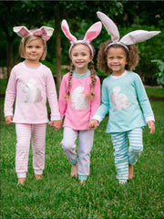 Girls Striped Silver Easter Bunny Pajama Set - Girls Pajama