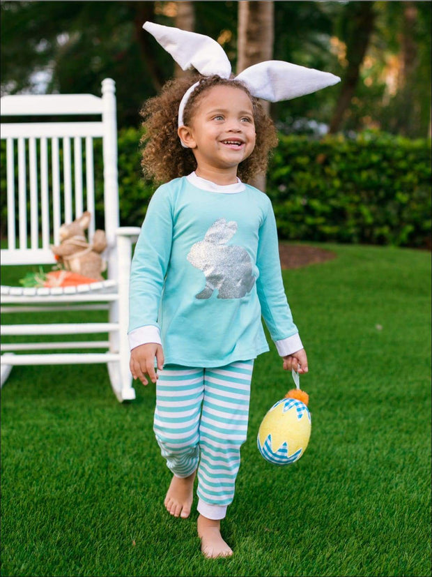 Girls Striped Silver Easter Bunny Pajama Set - Blue / 2T - Girls Pajama