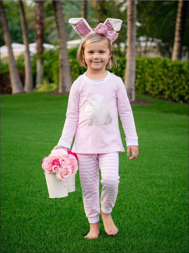 Girls Striped Silver Easter Bunny Pajama Set - Blush / 2T - Girls Pajama
