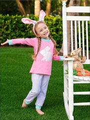 Girls Striped Silver Easter Bunny Pajama Set - Pink / 2T - Girls Pajama
