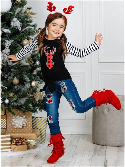 Girls Striped Sleeve Plaid Reindeer Knot Top & Ripped Jeans Set - Girls Christmas Set