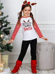 Girls Striped Sleeve Rudolph is My Bestie Top and Cuffed Jeans Set - Girls Christmas Set