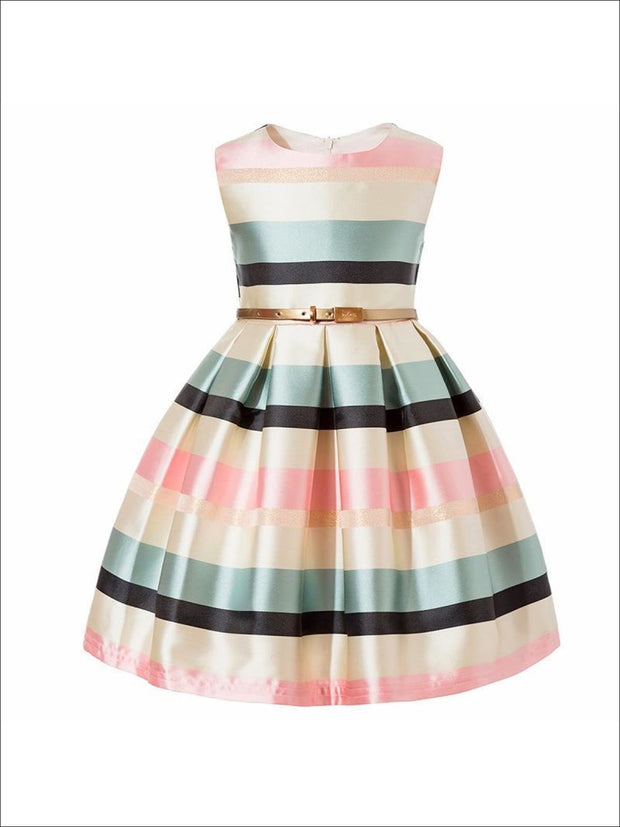 Girls Striped Sleeveless Dress - Pink Striped / 2T - Girls Spring Dressy Dress