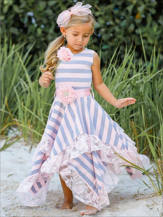 Girls Sleeveless Handkerchief Double Layer Ruffled Hem Dress with Flower Sash - Girls Spring Dressy Dress