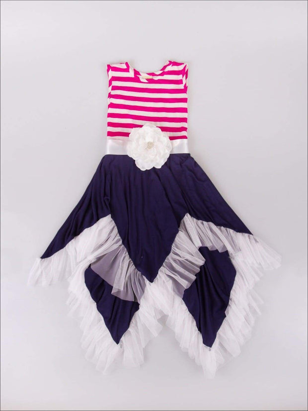 Girls Sleeveless Handkerchief Double Layer Ruffled Hem Dress with Flower Sash - Navy / 2T/3T - Girls Spring Dressy Dress