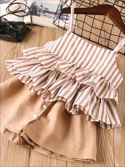 Girls Striped Sleeveless Tiered Ruffle Blouse & Brown Buttoned Skort Set - Brown / 2T - Girls Spring Casual Set