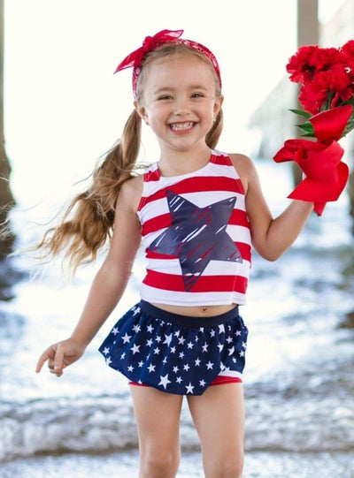 Girls Striped Star Print Skirted Shorts Two Piece Swimsuit - Girls Two Piece Swimsuit