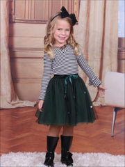 Girls Striped Top & Emerald Tutu Skirt Set - Girls Fall Dressy Set