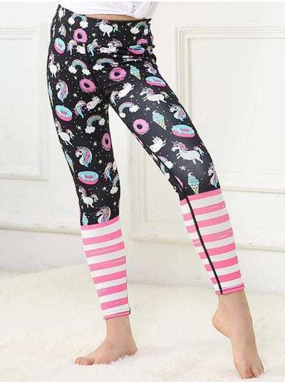 Girls Striped Unicorn Leggings (11 Style Options) - Black Unicorn / 4T - 5Y / Similar to image - Yoga Pants
