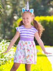 Girls Striped & Unicorn Print A-Line Flutter Sleeve Dress