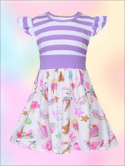 Girls Striped & Unicorn Print A-Line Flutter Sleeve Dress - Girls Spring Casual Dress