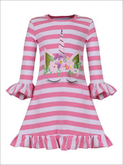 Girls Striped Unicorn Ruffled Flared Sleeve Dress - Girls Spring Casual Dress