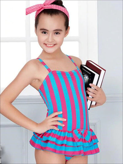 Girls Striped With Bow Detail Skirted One Piece Swimsuit - Pink / 9Y-10Y - Girls Swimsuit