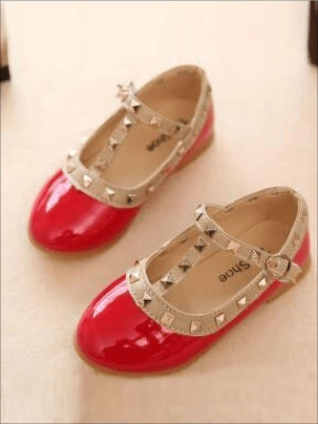 Girls Studded Runway Style Flats (Black Pink Red Off White) - red / 1 - Girls Flats