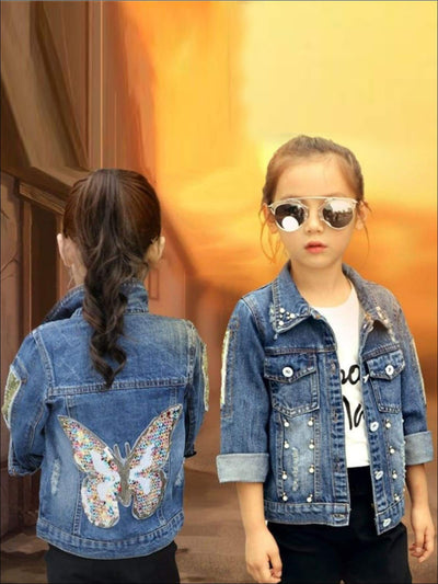 Girls Studded Sequin Butterfly Applique Denim Jacket - Girls Jacket