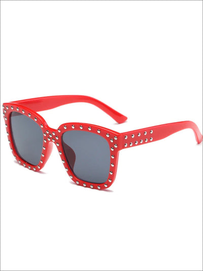 Girls Studded Square Frame Sunglasses - Red - Girls Accessories