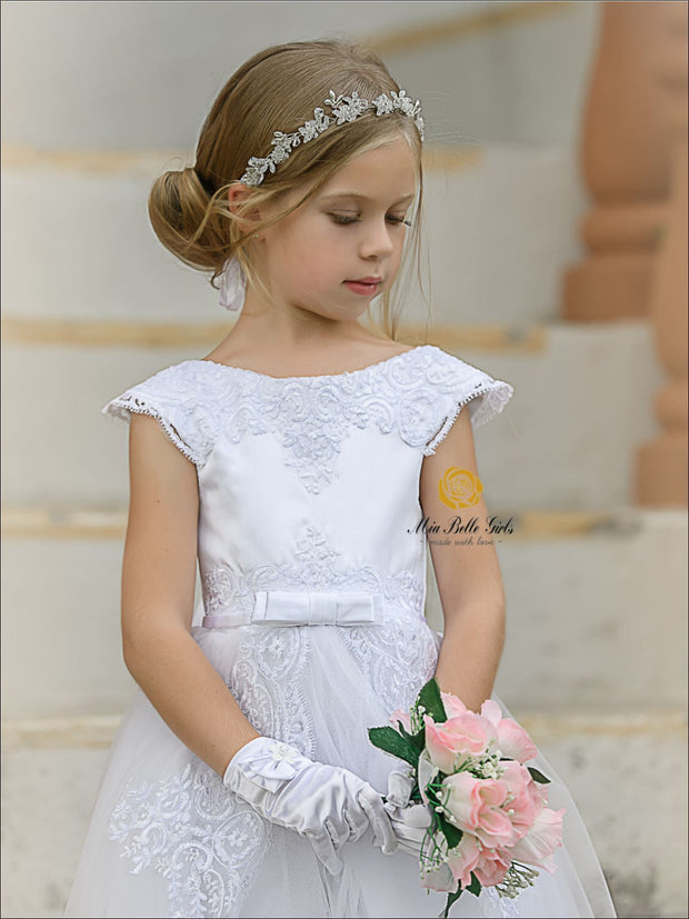 Girls Stunning Sleeveless Communion Dress - Girls Gown