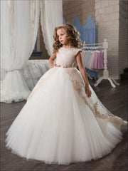 Girls Stunning Sleeveless Communion Dress - Champagne / 5 - Girls Gown