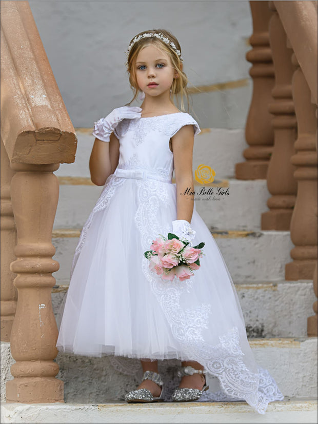 Girls Stunning Sleeveless Communion Dress - White / 5 - Girls Gown