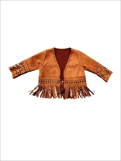 Girls Suede Bohemian Fringe Jacket - Brown / 2T - Girls Jacket