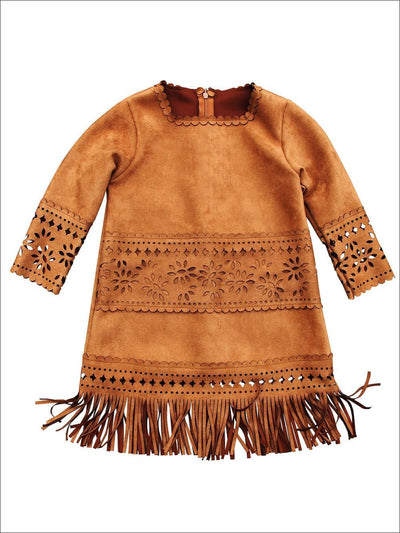 Girls Suede Bohemian Fringe Long Sleeve Dress - 2T - Girls Fall Dresses