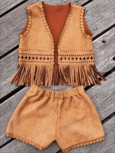 Girls Suede Bohemian Fringe Vest & Shorts Set - Girls Fall Sets