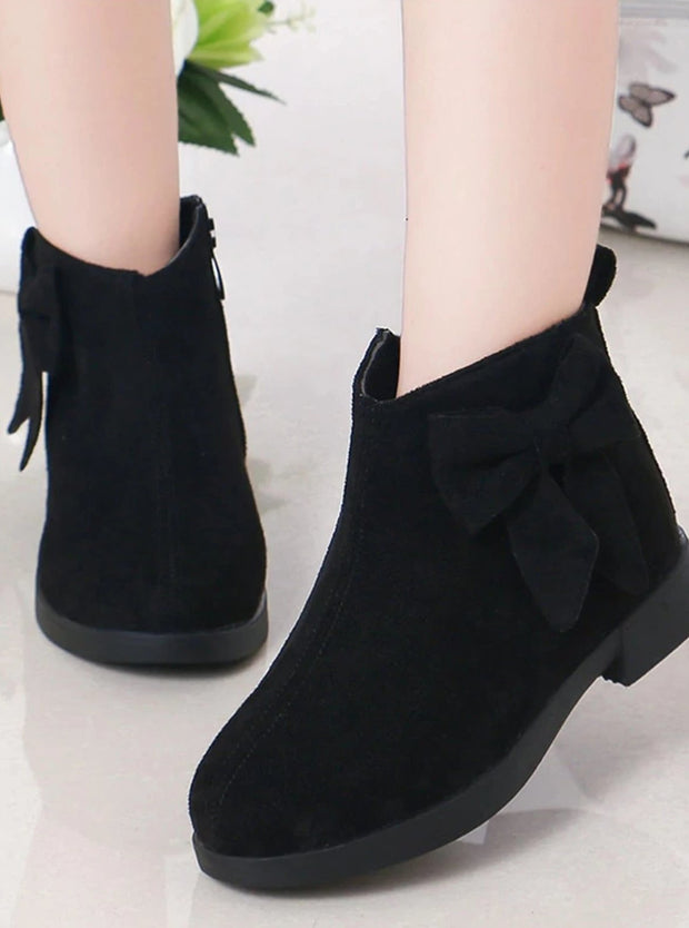Girls Suede Bow Side Ankle Booties - Black / 1 - Girls Boots