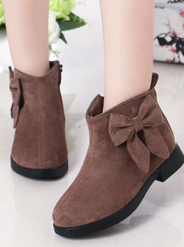 Girls Suede Bow Side Ankle Booties - Brown / 1 - Girls Boots