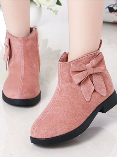 Girls Suede Bow Side Ankle Booties - Pink / 1 - Girls Boots