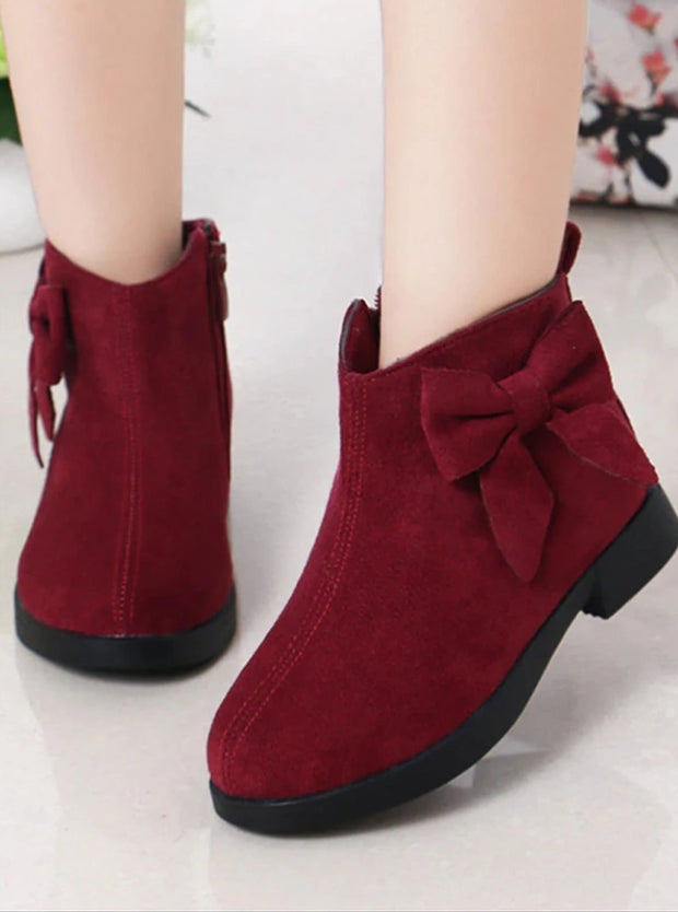 Girls Suede Bow Side Ankle Booties - Red / 1 - Girls Boots