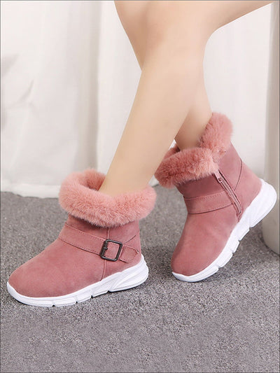 Girls Suede Faux Fur Winter Boots - Pink / 1 - Girls Boots