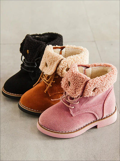 Girls Suede Fleece Trimmed Ankle Boots - Girls Boots