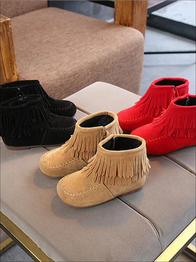 Girls Suede Fringe Bohemian Ankle Boots - Girls Boots