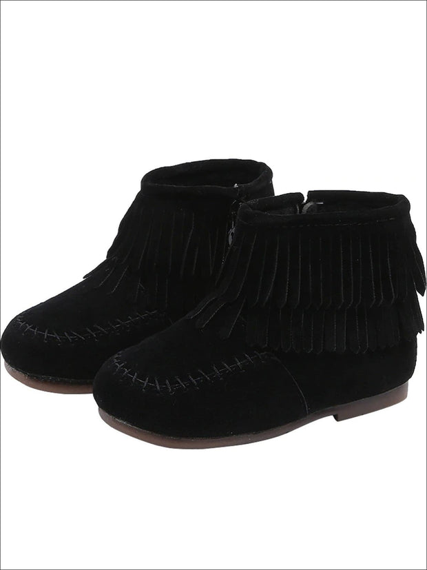 Girls Suede Fringe Bohemian Ankle Boots - Black / 5.5 - Girls Boots