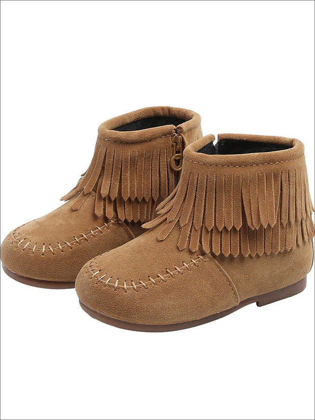 Girls Suede Fringe Bohemian Ankle Boots - Khaki / 5.5 - Girls Boots