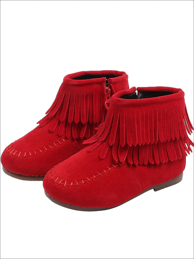 Girls Suede Fringe Bohemian Ankle Boots - Red / 5.5 - Girls Boots