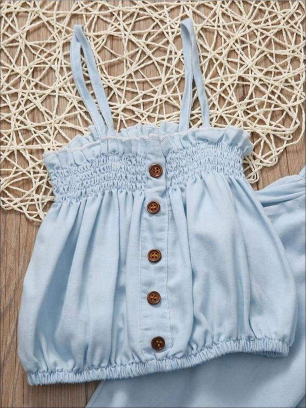 Girls Summer Sleeveless Denim Tank Top & Capri Pant Set - Casual Spring Set