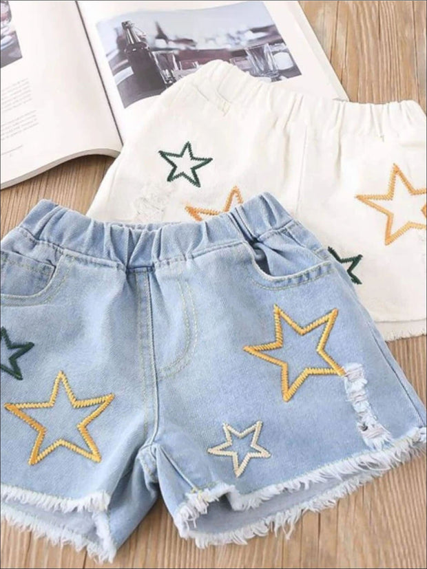 Girls Summer Striped Off Shoulder Tunic & Star Denim Shorts Set - Girls Spring Casual Set