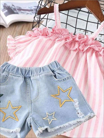 Girls Summer Striped Off Shoulder Tunic & Star Denim Shorts Set - pink / 2T - Girls Spring Casual Set