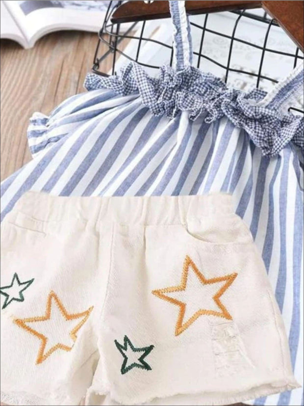 Girls Summer Striped Off Shoulder Tunic & Star Denim Shorts Set - Sky Blue / 2T - Girls Spring Casual Set